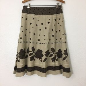 Brown & Tan FLORAL A-Line Skirt By Liz Claiborne